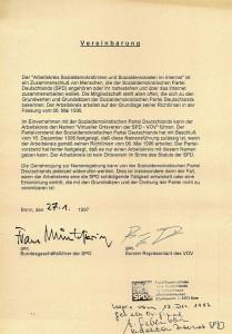 03_1997_01_27_VOV_Offizielle_Vereinbarung_mit_PV_Muentefering_Piwinger_Bonn © Petra Tursky-Hartmann