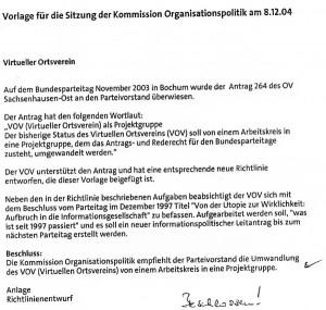 33_2004-12-08_VOV_Beschluss_SPD-Parteivorstand_Kommission_Organisationspolitik © Petra Tursky-Hartmann