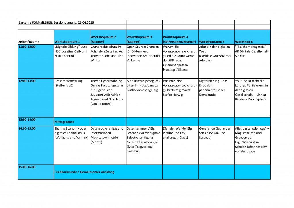Sessionplanung Digitalleben Berlin Kalkscheune 2015