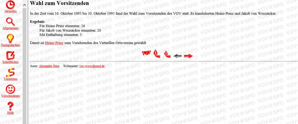 Ergebnis der ersten Vorstandswahlen des VOV im Jahr 1995, hier: Online-Wahl des Vorsitzenden.