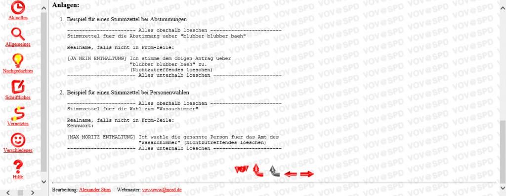 """""""Wahlzettel"""" für die Personalwahl. Muster aus dem Jahr 1997."""